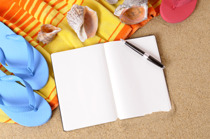 Beach background with writing book