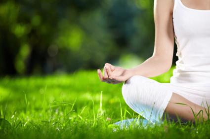 Yoga - sitting on grass